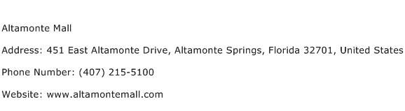 Altamonte Mall Address Contact Number