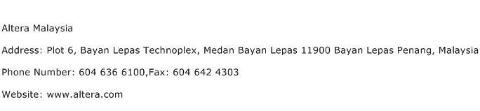 Altera Malaysia Address Contact Number