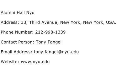 Alumni Hall Nyu Address Contact Number