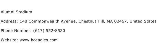 Alumni Stadium Address Contact Number