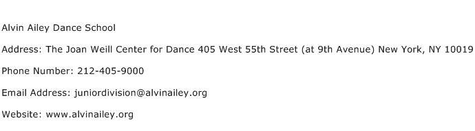 Alvin Ailey Dance School Address Contact Number