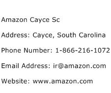 Amazon Cayce Sc Address Contact Number