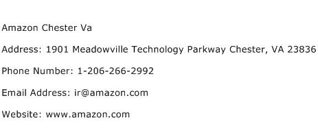 Amazon Chester Va Address Contact Number