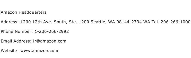 Amazon Headquarters Address Contact Number