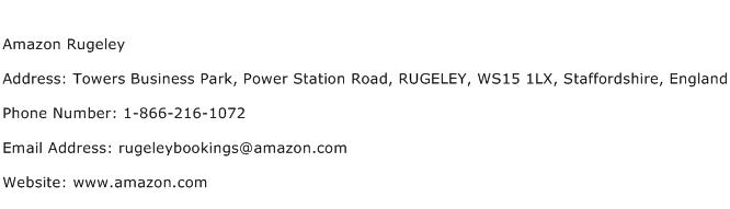 Amazon Rugeley Address Contact Number