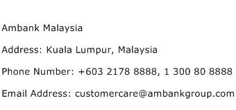 Ambank Malaysia Address Contact Number