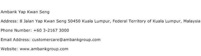 Ambank Yap Kwan Seng Address Contact Number