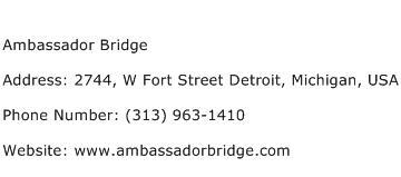 Ambassador Bridge Address Contact Number