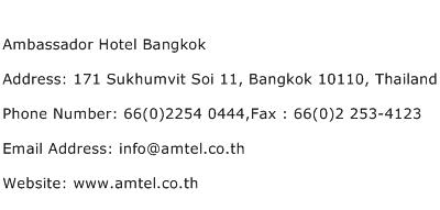 Ambassador Hotel Bangkok Address Contact Number