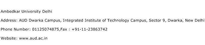 Ambedkar University Delhi Address Contact Number