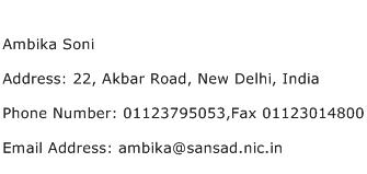 Ambika Soni Address Contact Number