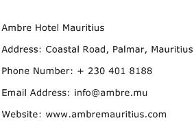 Ambre Hotel Mauritius Address Contact Number