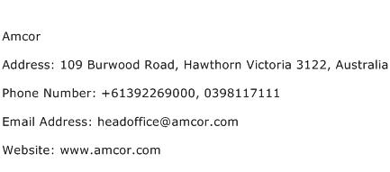 Amcor Address Contact Number