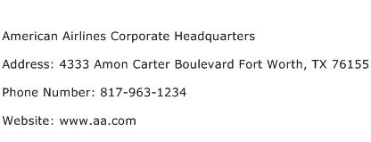 American Airlines Corporate Headquarters Address Contact Number