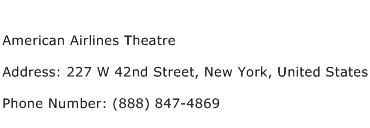 American Airlines Theatre Address Contact Number
