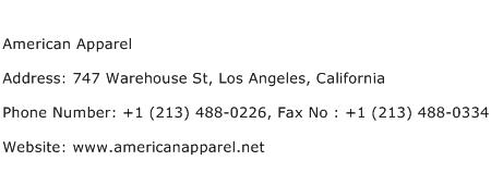 American Apparel Address Contact Number