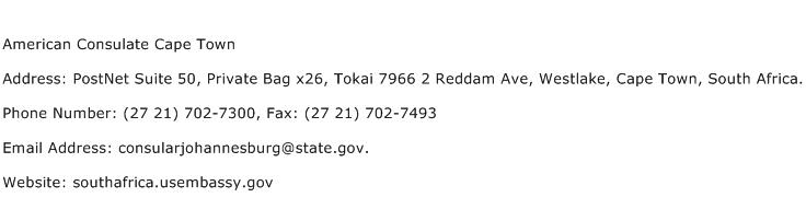 American Consulate Cape Town Address Contact Number