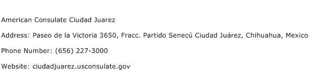 American Consulate Ciudad Juarez Address Contact Number
