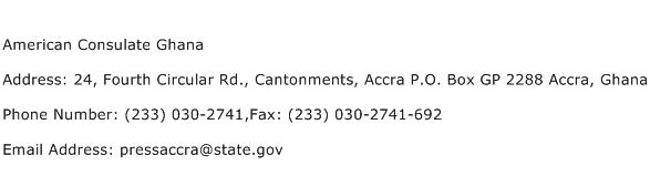 American Consulate Ghana Address Contact Number