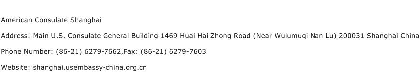 American Consulate Shanghai Address Contact Number