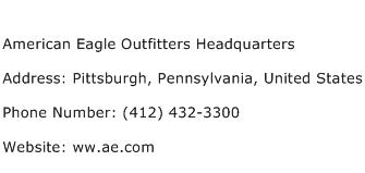 American Eagle Outfitters Headquarters Address Contact Number