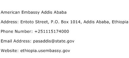 American Embassy Addis Ababa Address Contact Number