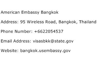 American Embassy Bangkok Address Contact Number