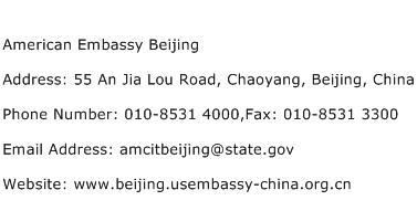 American Embassy Beijing Address Contact Number