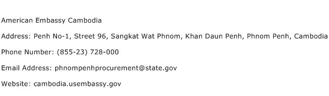 American Embassy Cambodia Address Contact Number