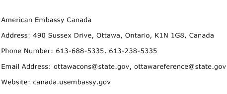 American Embassy Canada Address Contact Number