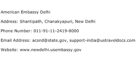 American Embassy Delhi Address Contact Number