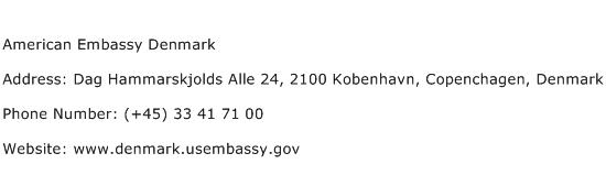 American Embassy Denmark Address Contact Number