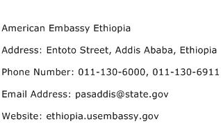 American Embassy Ethiopia Address Contact Number