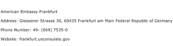 American Embassy Frankfurt Address Contact Number