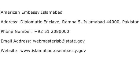 American Embassy Islamabad Address Contact Number