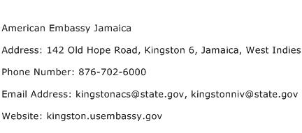 American Embassy Jamaica Address Contact Number