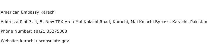 American Embassy Karachi Address Contact Number