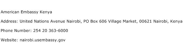 American Embassy Kenya Address Contact Number