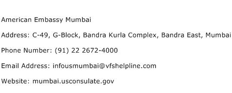 American Embassy Mumbai Address Contact Number