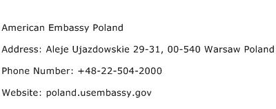 American Embassy Poland Address Contact Number