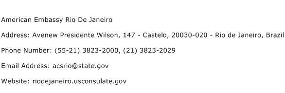 American Embassy Rio De Janeiro Address Contact Number