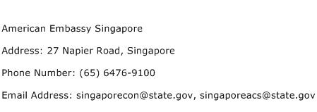 American Embassy Singapore Address Contact Number