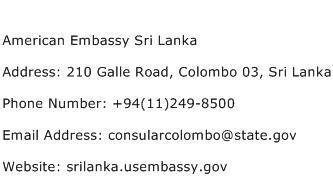 American Embassy Sri Lanka Address Contact Number
