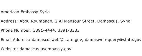 American Embassy Syria Address Contact Number