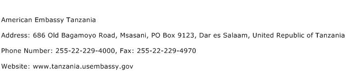 American Embassy Tanzania Address Contact Number