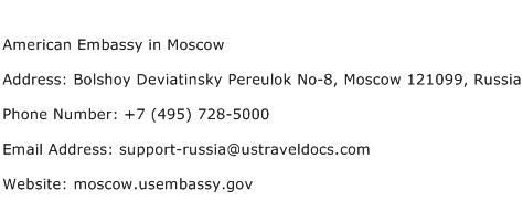 American Embassy in Moscow Address Contact Number