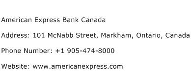 American Express Bank Canada Address Contact Number