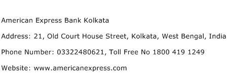 American Express Bank Kolkata Address Contact Number