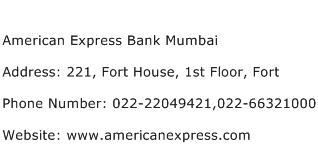 American Express Bank Mumbai Address Contact Number