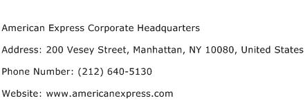 American Express Corporate Headquarters Address Contact Number